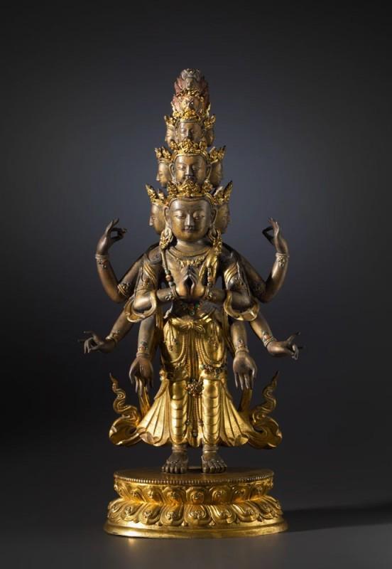 A figure of the eleven headed of Avalokiteshavara, Tibeto-chinese 18th Century