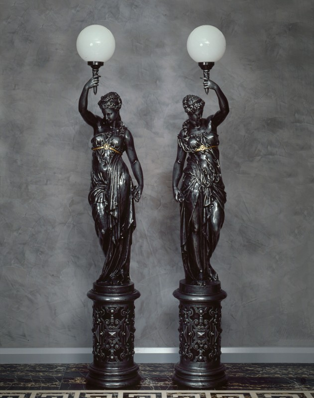 A pair of French figural torchères by the Val d'Osne Foundry, Paris, date circa 1860