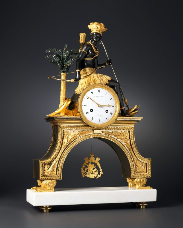 A Directoire Pendule 'À L'Amèrique' by Mottet Crétien, case attributed to Jean-Simon Deverberie, Paris, date circa 1800