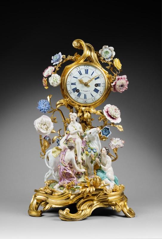 "A Louis XV mantel clock ""Europa and the Bull"" by Gérard Benoît, The porcelain: Meissen, date circa 1750. The gilt bronze: Paris, date circa 1750"