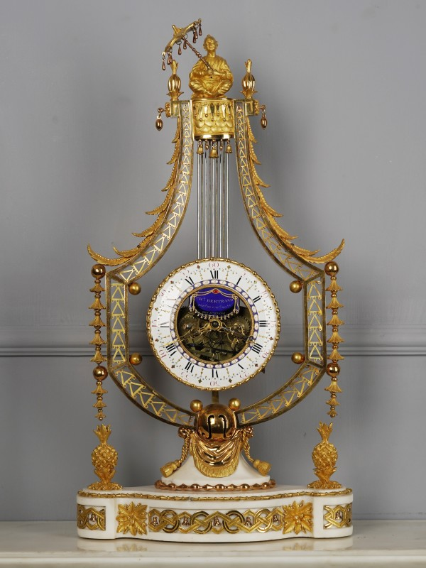 A Louis XVI figural lyre clock of eight day duration by Joseph-Charles-Paul Bertrand, Paris, date circa 1785