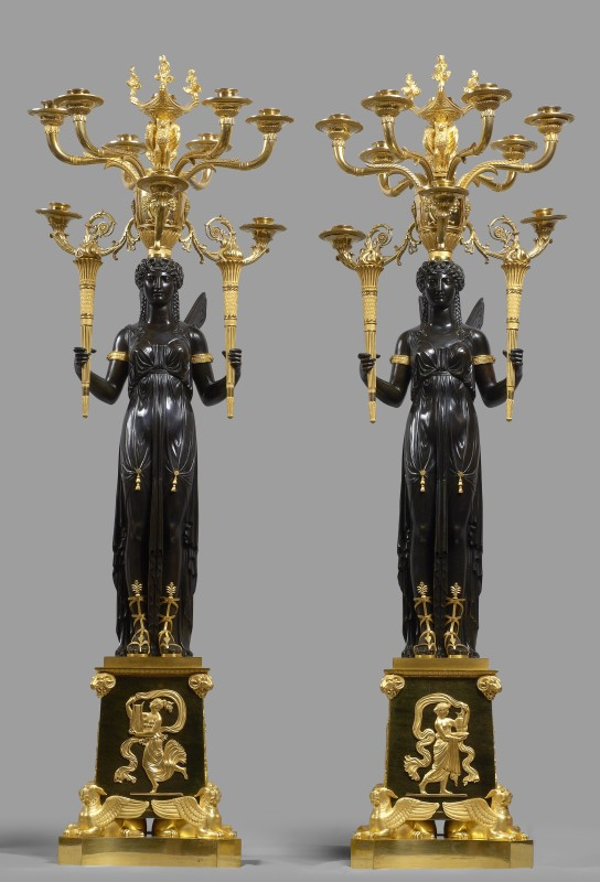 A pair of Empire ten-light candelabra attributed to Claude Galle, Paris, date circa 1805-10