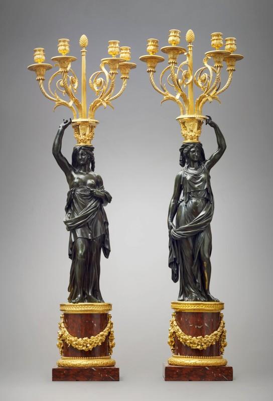 A large pair of Louis XVI four-light candelabra attributed to François Rémond, Paris, date circa 1790