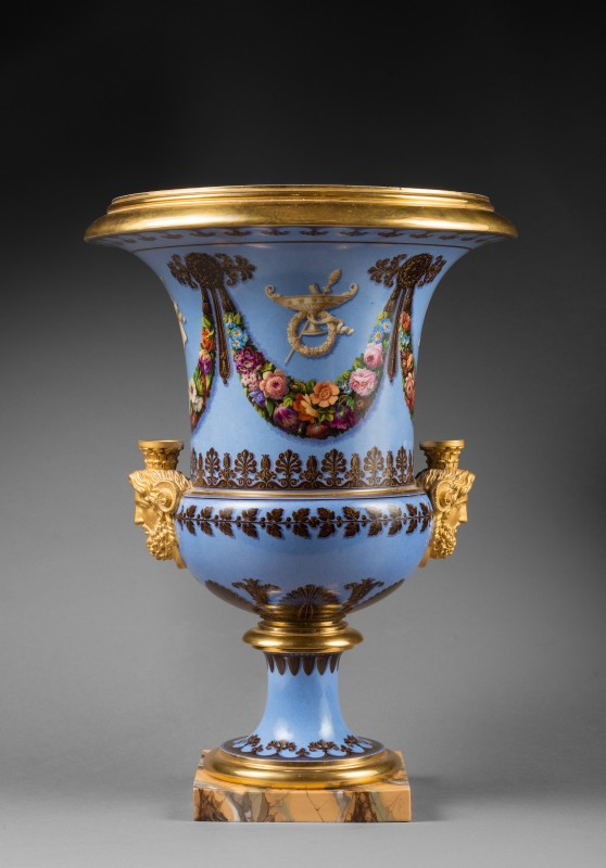 A pair of Restauration Sèvres Medici vases, Paris, date circa 1823