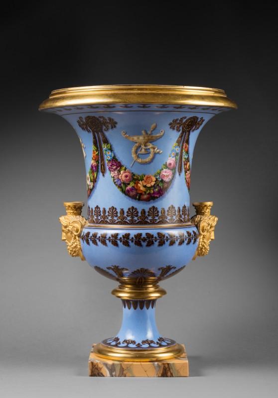 A pair of Restauration Sèvres Medici vases, Paris, date circa 1823