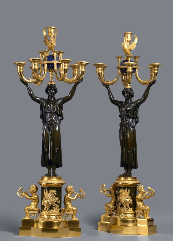 A pair of Empire seven-light candelabra , Paris, date circa 1805