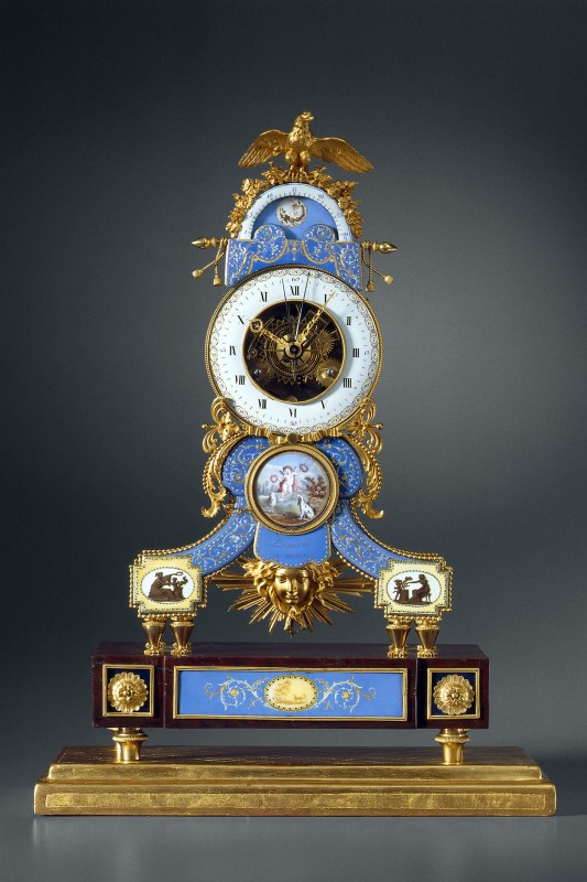 A late Louis XVI astronomical skeleton clock y Lamiral, enamel by Joseph Coteau, Paris, date circa 1790