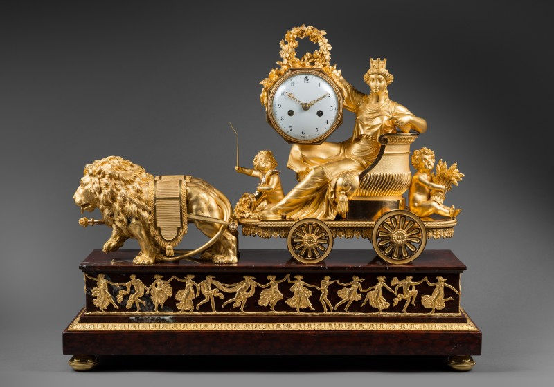 A late 18th Century mantel clock, the case featuring 'Le Char de Cérès' by Pierre-Philippe Thomire, Paris, date circa 1799