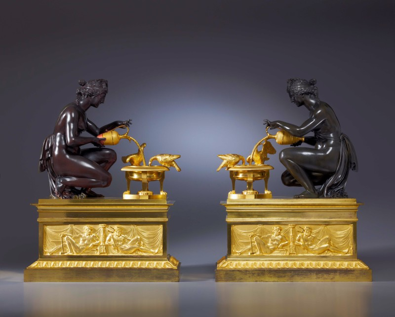 A pair of Louis XVI chenets attributed to Pierre-Philippe Thomire, Paris, date circa 1785-90