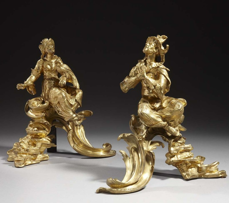 A pair of Louis XV Chinoiserie chenets, Paris, circa 1745-55
