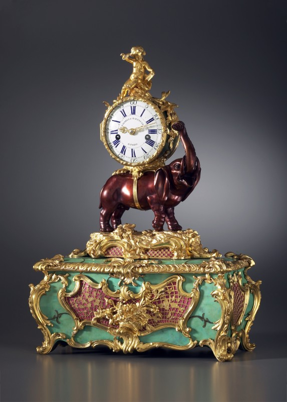 A Louis XV Pendule 'À L'Éléphant' with music box, by Charles Baltazar à Paris, Paris, dated 1747