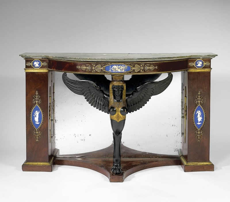 An Empire console, attributed to Martin Eloi Lignereux, Adam Weisweiler and Pierre-Philippe Thomire, Paris, date circa 1795-1800
