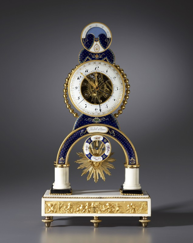 A Directoire skeleton clock, by Laurent Ridel, enamel work by Joseph Coteau, Paris, dated 1796