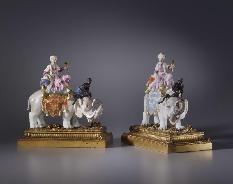 A pair of Kändler period figurines probably by Johann Joachim Kändler and Peter Reinicke, The porcelain: Meissen, date circa 1743-50. The gilt bronze mounts: Paris, date circa 1775.
