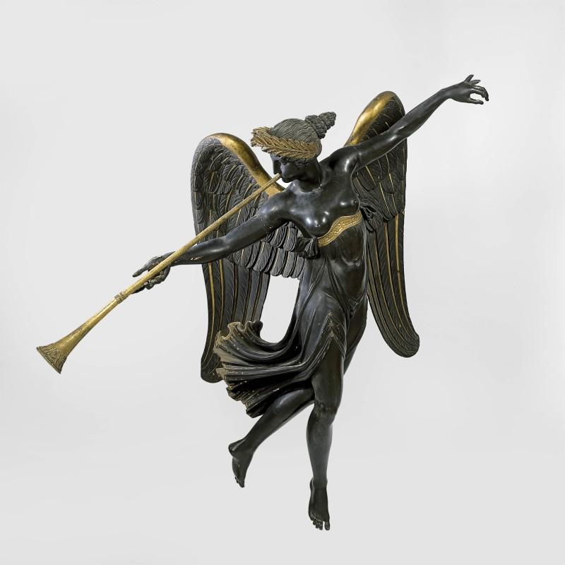 An Empire winged statue, representing Fame after a design by Pierre-Louis-Arnulphe Duguers de Montrosier, Paris, date 1805