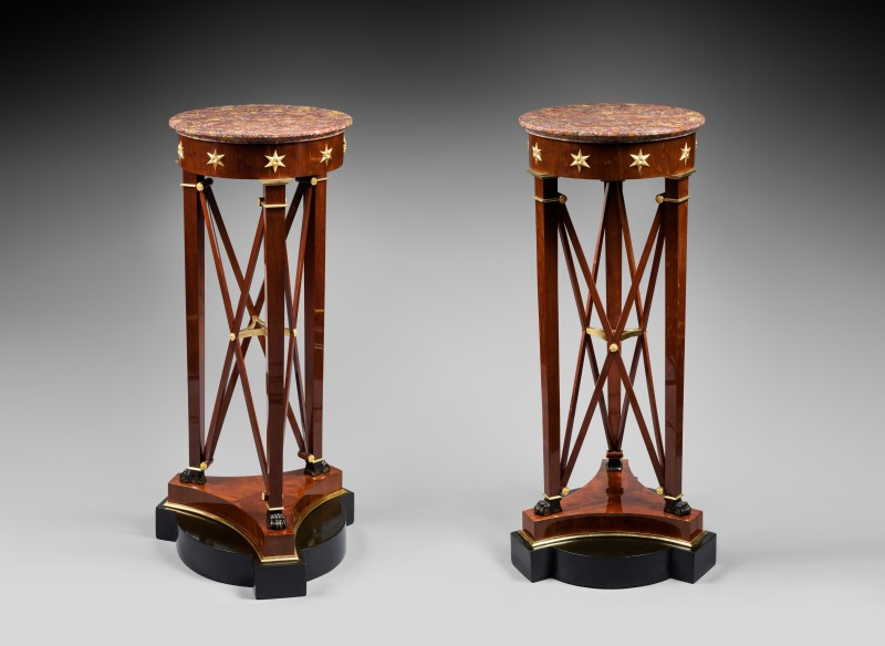 A pair of Empire pedestal sellettes à bande croisée attributed to Jacob-Desmalter et Cie, after a design by Charles Percier, Paris, date circa 1805-1810