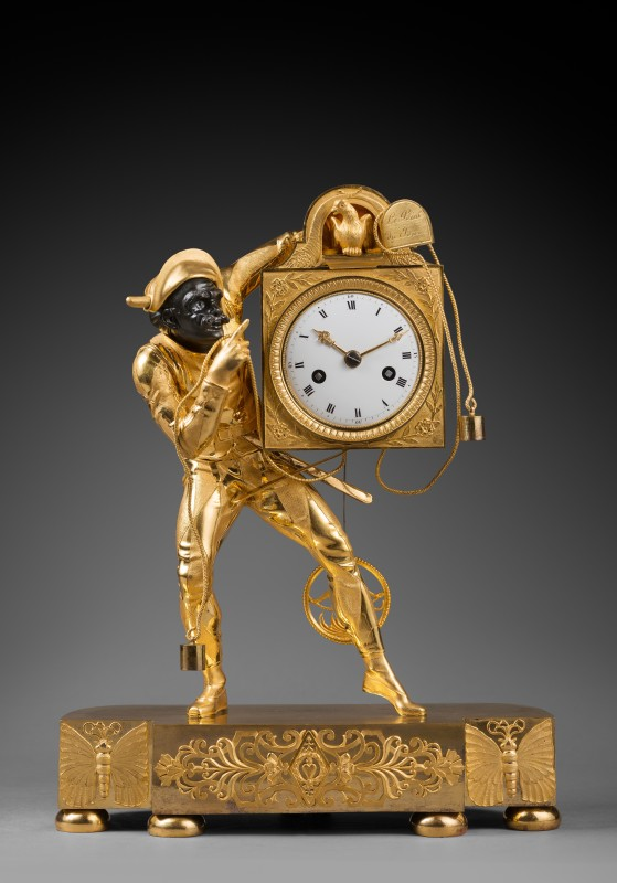 "A rare late Empire ""Harlequin"" mantel clock depicting, the case attributed to Pierre-Philippe Thomire, Paris, date circa 1815-20"