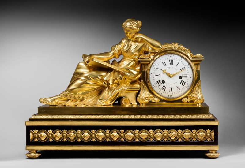 "A Louis XVI mantel pendule ""à la Geoffrin"", by Ferdinand Berthoud, case attributed to Edme Roy, base by Balthazar Lieutaud, Paris, date circa 1770"