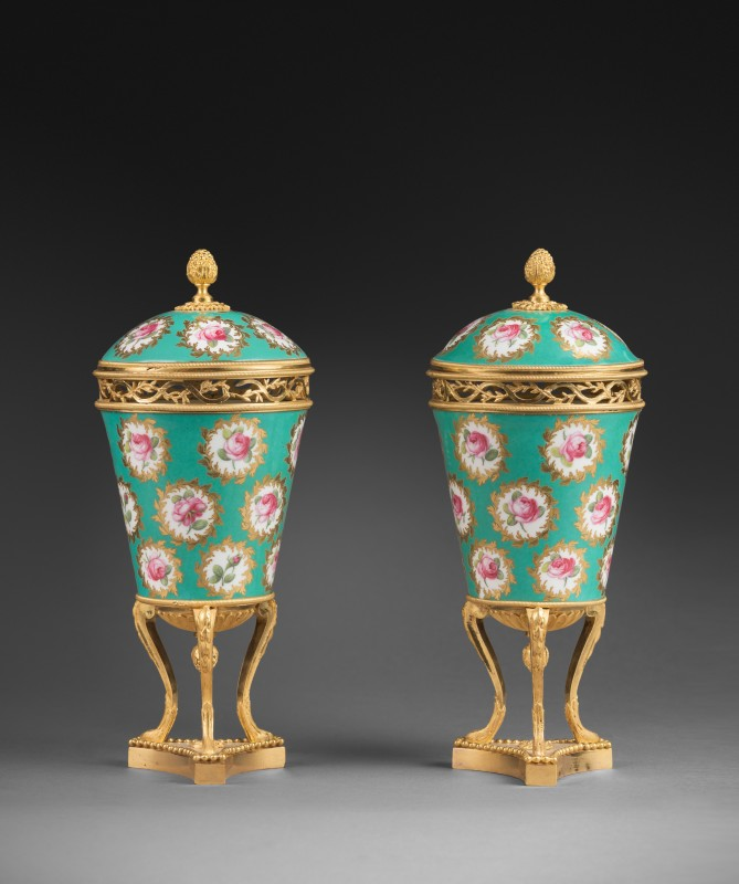 A pair of Louis XVI pot-purri vases by Sèvres, Paris, date circa 1770-1775
