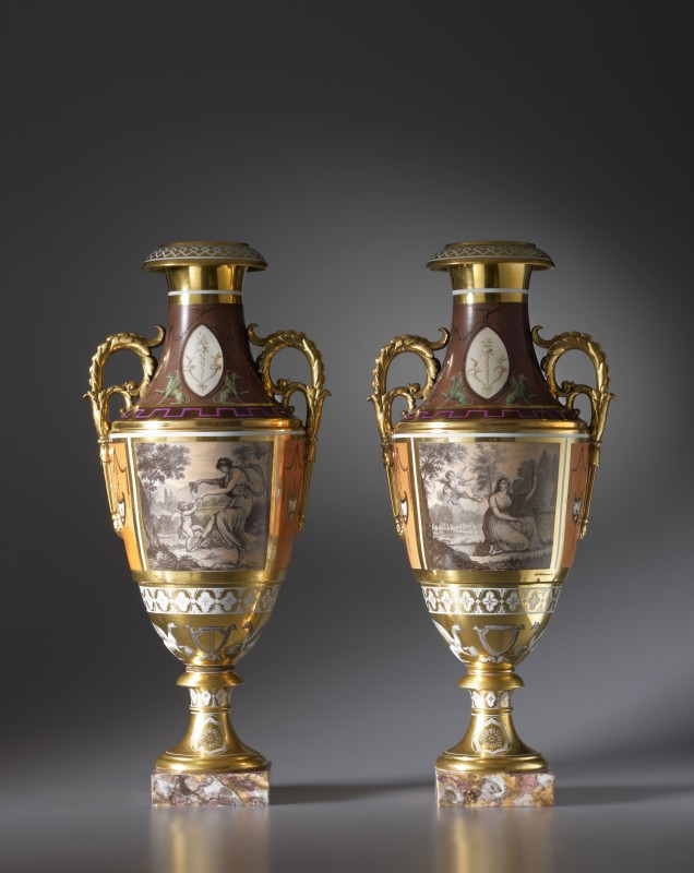 A pair of late Empire Paris Porcelain two-handled vases , PAris, date circa 1825