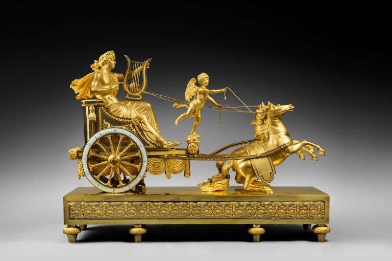 A Directoire chariot clock of eight day duration by Jean-Simon Deverberie, Paris, date circa 1800