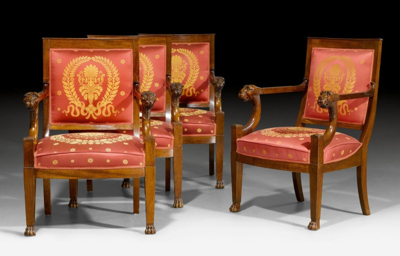 A set of four Empire fauteuils by Jean-Baptiste-Bernard Demay, Paris, date circa 1805