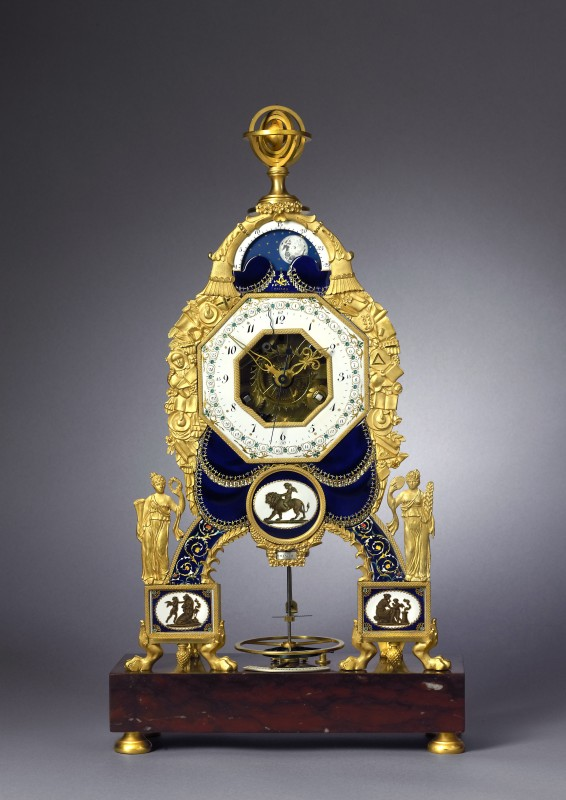 A late Louis XVI skeleton mantel clock by Joseph Coteau, Paris, date circa 1785
