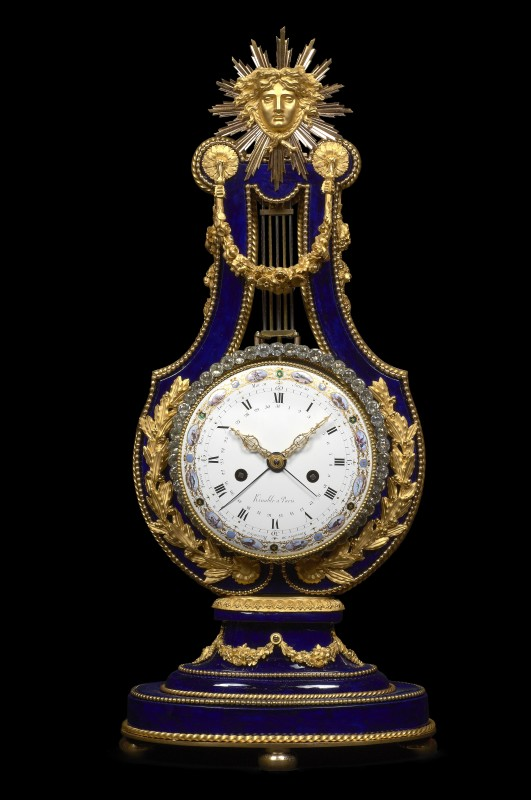 A Louis XVI lyre clock enamel work by Joseph Coteau, movement by Dieudonné Kinable, Paris, dated 1796