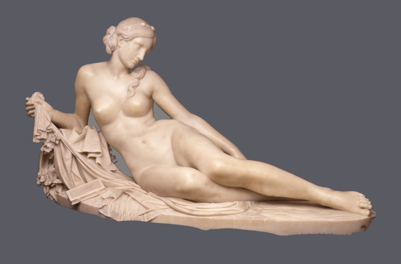"A Classical figure entitled ""Laura al Bagno"" by Santo Varni, Italian, dated 1858"