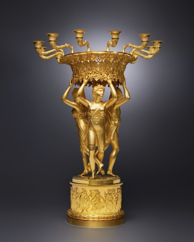 An Empire gilt bronze figural centrepiece with a detachable twelve-light candelabra ring attributed to Pierre-Philippe Thomire , Paris, date circa 1810-15