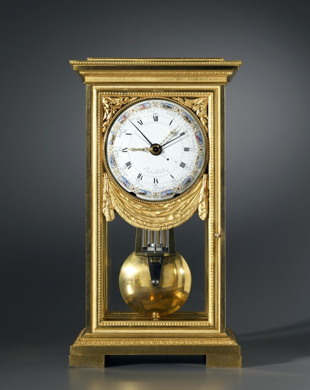 A Louis XVI mantel regulator of month duration, by Robert Robin, the polychrome dial by Joseph Coteau and case attributed to Pierre-Philippe Thomire, Paris, date circa 1785