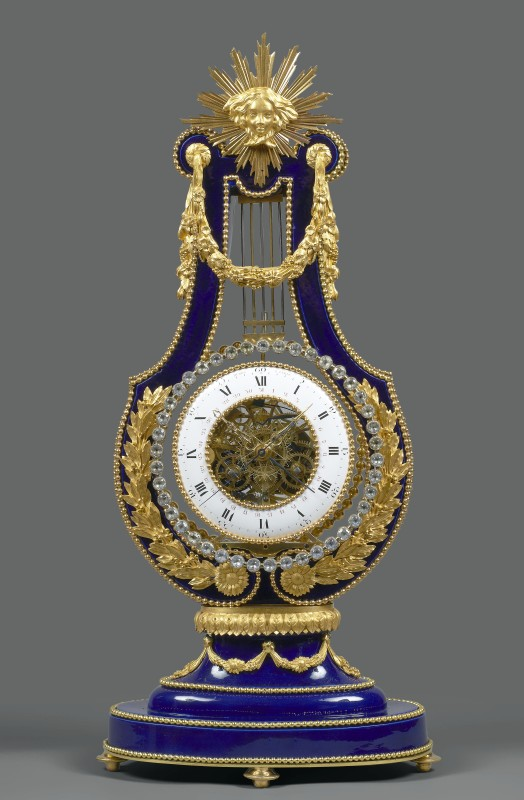 A Louis XVI lyre clock by Sèvres, the movement by Dubos, Paris, date circa 1785