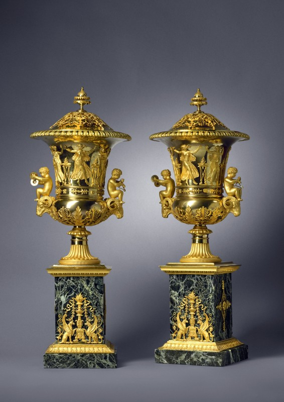 A pair of Empire covered vases attributed to Claude Galle, Paris, date circa 1810-15