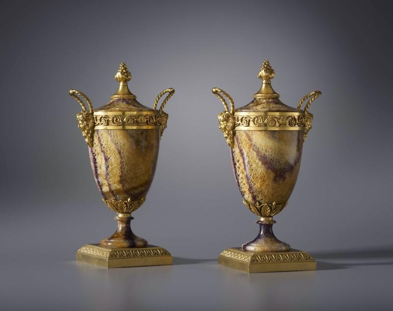 A pair of Georgian covered vases attributed to Matthew Boulton, Birmingham, date circa 1780