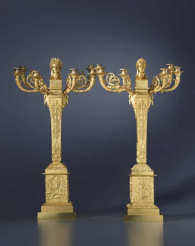 A pair of Empire six-light candelabra, representing Apollo and Diana, Paris, date circa 1810-20