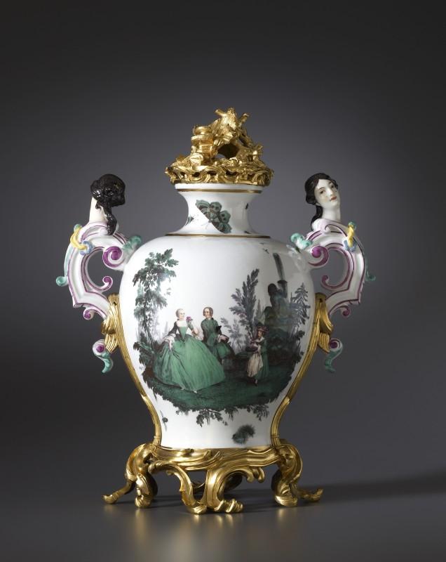 A Louis XV vase by Meissen, almost certainly modelled by Johann Joachim Kändler , The porcelain: Meissen, date circa 1747. The gilt bronze mounts: Paris, date circa 1750