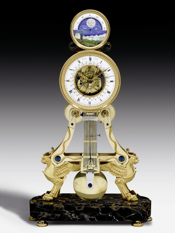 An Directoire/Empire skeleton clock with moon phase by Paratte, Paris, date circa 1795-1805