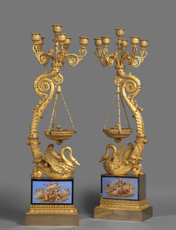 A pair of Empire six-light candelabra with brûle-parfums attributed to Pierre-Philippe Thomire, Paris, date circa 1815-20
