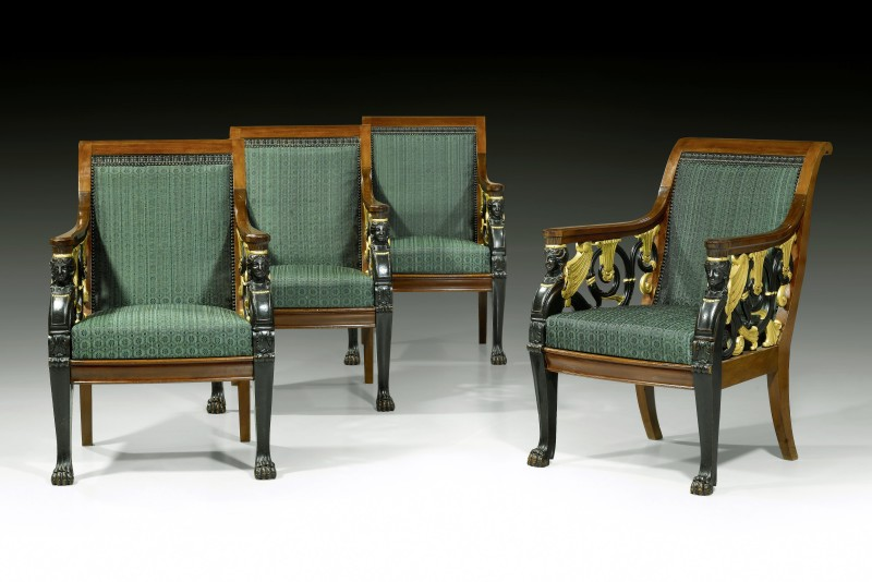 A set of four Russian Empire open fauteuils, Saint-Petersburg, date circa 1820