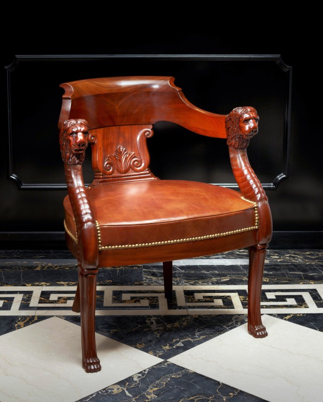 An Empire fauteuil de bureau attributed to Jacob-Desmalter et Cie, Paris, date circa 1805-1810