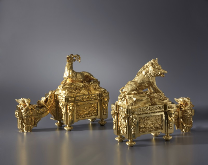 A pair of Louis XVI style chenets attributed to Alfred Beurdeley Père after a pair by Quentin-Claude Pitoin, Paris, date circa 1860