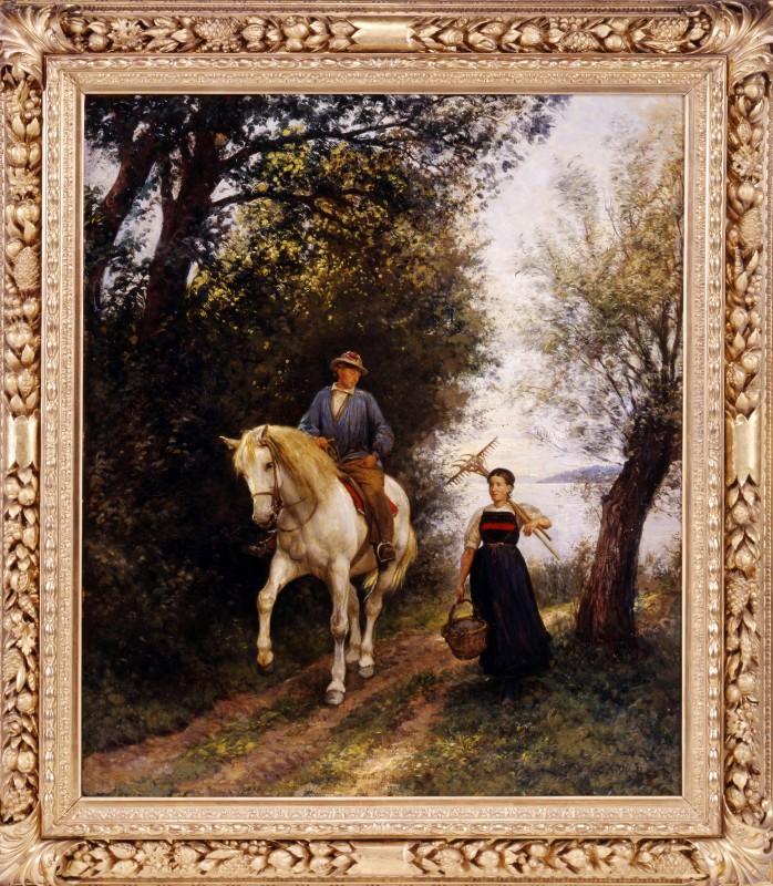 """""""Knecht zu Pferd mit Bauernmädchen"""" by Rudolf Koller"""