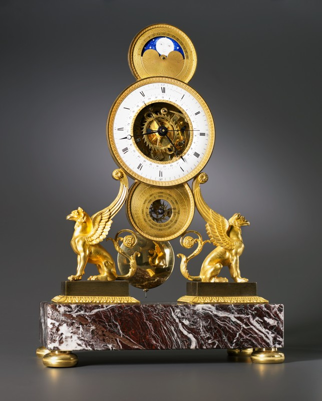 Jean-Claude Lemoine , An Empire skeleton clock of eight day duration by Jean-Claude Lemoine, Paris, date circa 1810