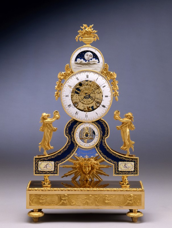 A Directoire astronomical skeleton table regulator by Romain, enamel by Dubuisson, case attributed to Pierre-Philippe Thomire, Paris, date circa 1795