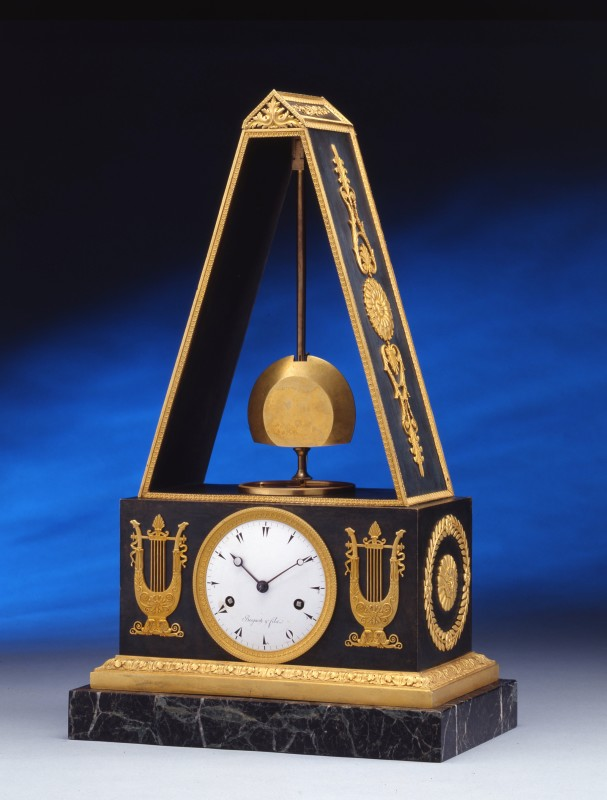 A late Empire pyramid clock by Breguet et Fils, the case by Piem-Victor Ledure, Paris, date circa 1820