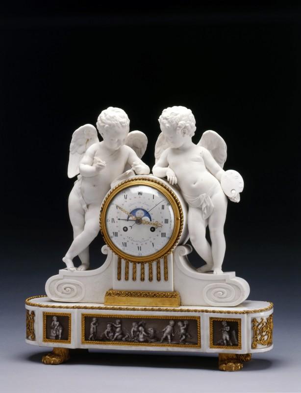 A Louis XVI figural mantel clock, by Jean-Nicolas Schmit, porcelain by d'Angoulême Factory, Paris, date circa 1790