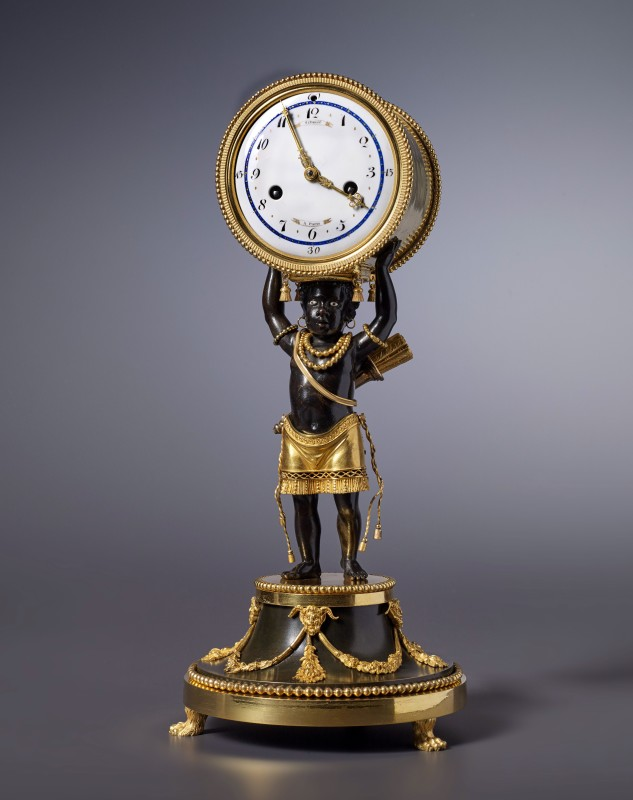 A very fine Directoire pendule 'Au Jeune Nègre' by Schmit à Paris housed in a case attributed to Jean-Simon Deverberie, Paris, date circa 1800