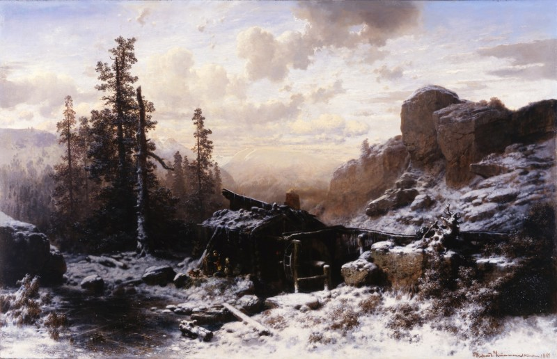 """Winter Landscape"" by Richard Zimmermann, München, dated 1861"