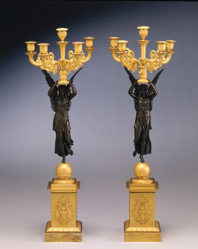 A pair of Empire five-light figural candelabra 'A la Victoire' attributed to Claude Galle, Paris, date circa 1815