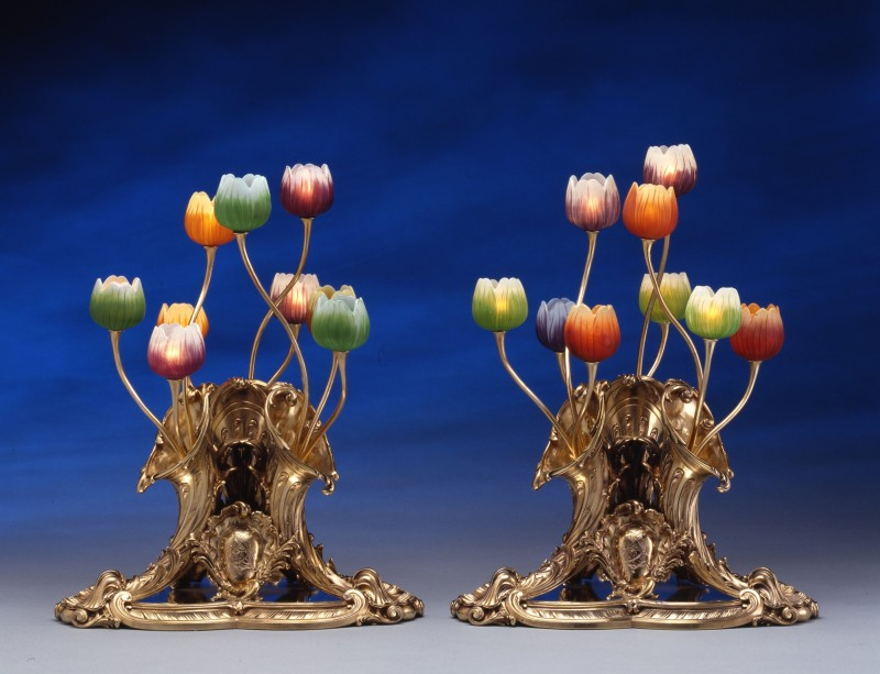 A pair of table lamps, the silver gilt bases by Lucien Falize, the glass by Emile Gallé, Paris, date circa 1895